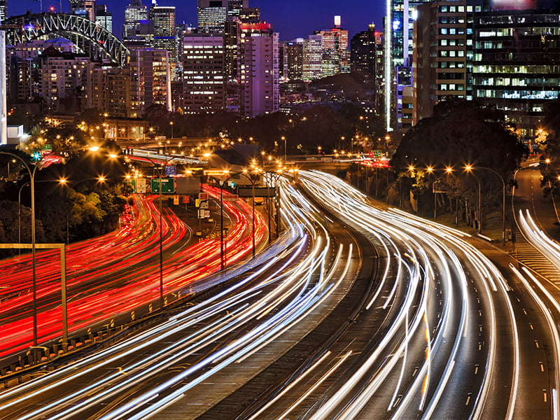 Sydney traffic busy lights