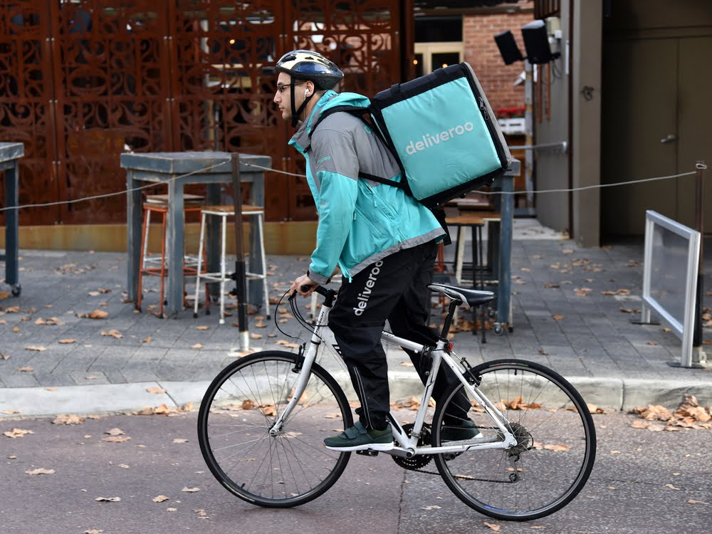 Deliveroo delivery person on bike