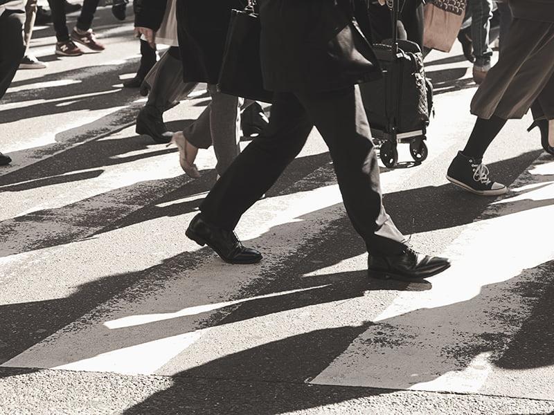 Pedestrians, crossing, busy, people