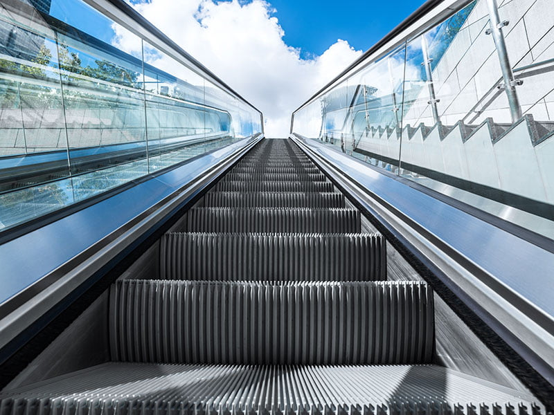 blue sky escalator